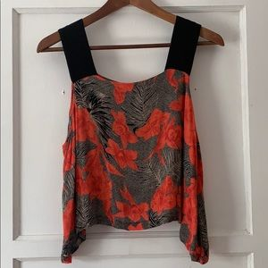 Topshop flowy high-low sleeveless floral top